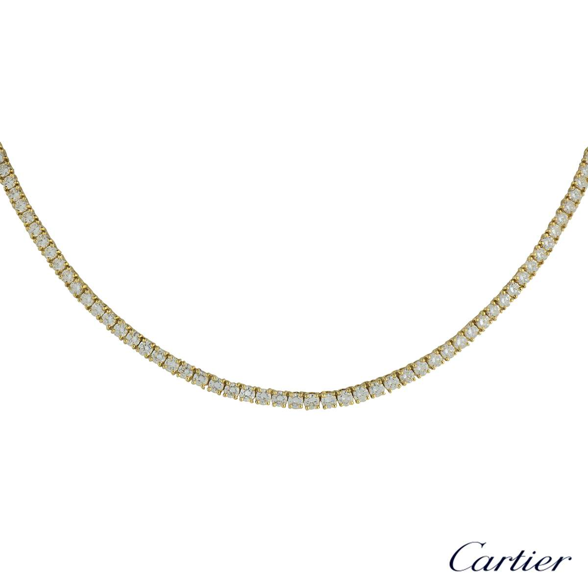 Cartier 18k Yellow Gold Diamond Line Necklace 10.30cts